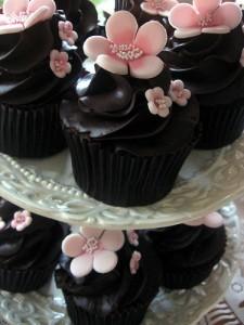 Mörk choklad cupcake