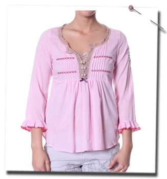 Gauze frill blouse i lite pink