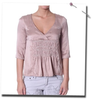 Sensuality smock blouse i powder