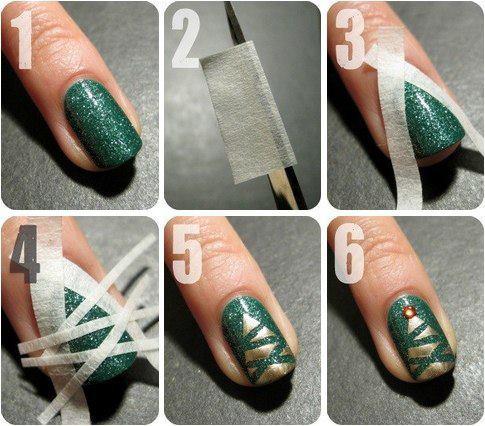 Måla en julgran på dina naglar