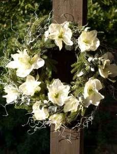 Krans av vita Amaryllis