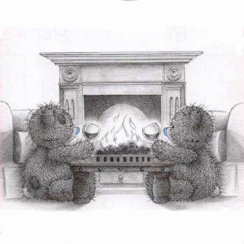 Tatty Teddy in front of the fireplace