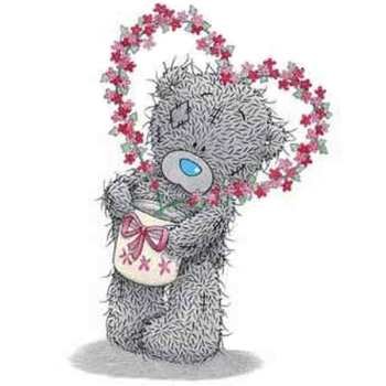 Tatty Teddy with heartshaped flower