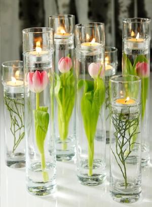 Tulpaner med varmeljus