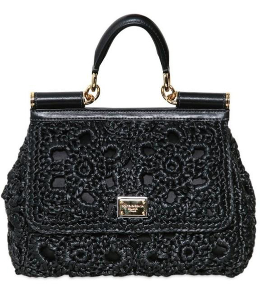Dolce o Gabbana miss sicily crochet bag black