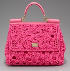 Dolce o Gabbana miss sicily tote crochet pink