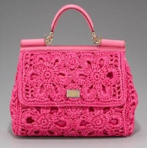 Dolce o Gabbana miss sicily tote crochet pink