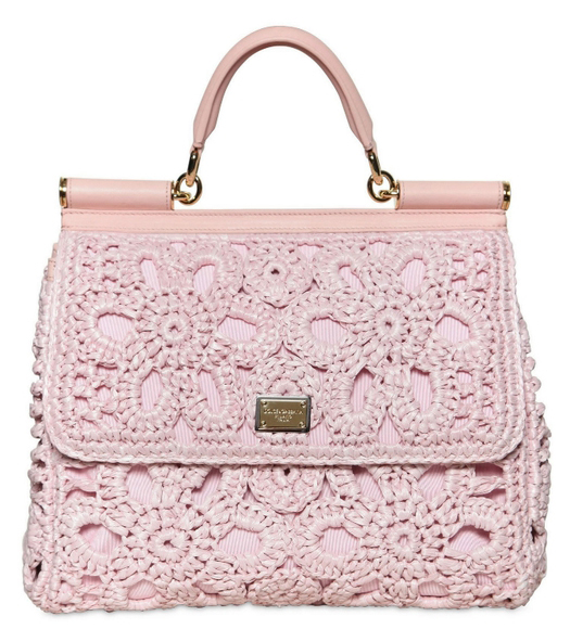 Dolce o Gabbana miss sicily crochet tote light pink