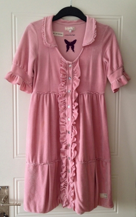 Odd Molly Velour Frill Dress i rosa