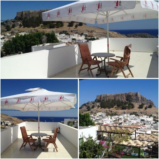 Luxury Studios på Lindos utsikt från vår balkong