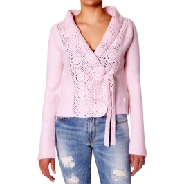 Snuggle crochet cardigan rose