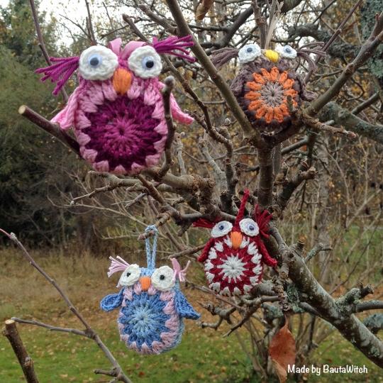 Virkade ugglor i träd made by BautaWitch