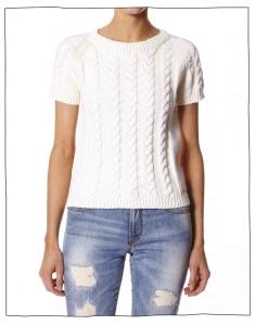Odd Molly corset short sleeved sweater i vitt