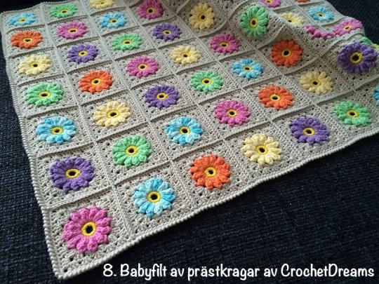 Babyfilt prästkragar CrochetDreams