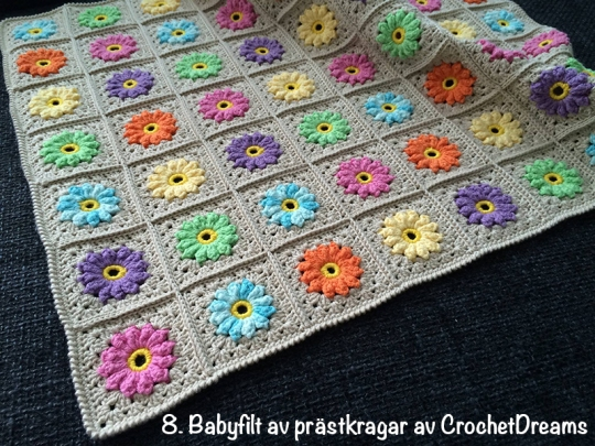 Babyfilt prästkragar CrochetDreams